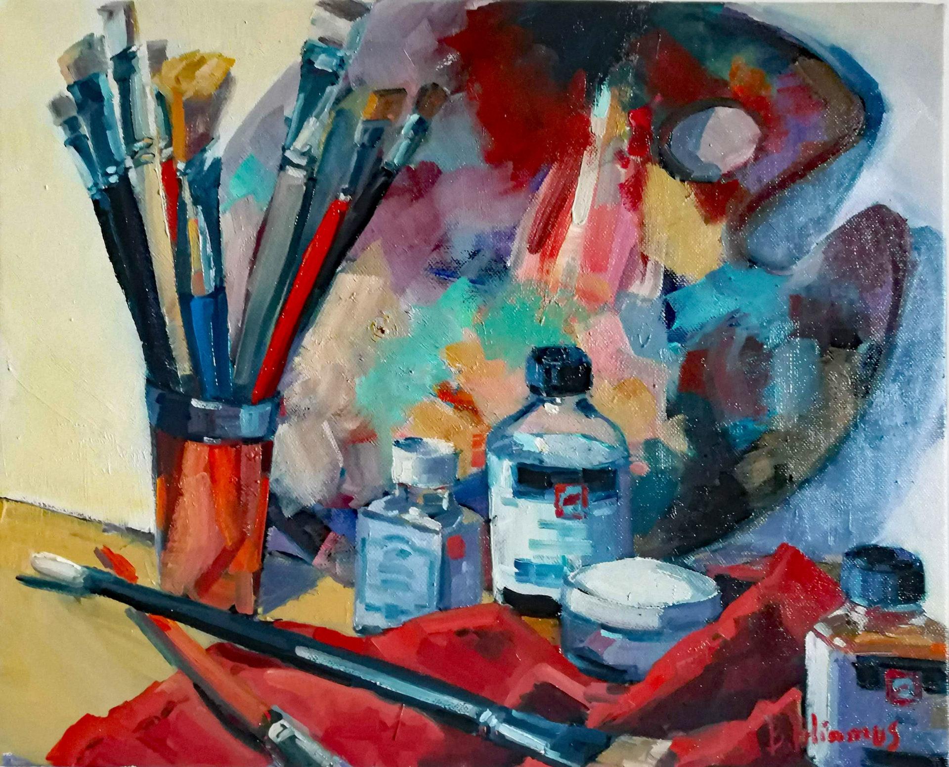 Chanson des peintres - Charles Cros Latelier-du-peintre-33x44cm